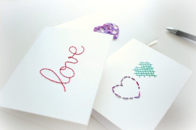 DIY Des jolies cartes brodées pour la Saint-Valentin